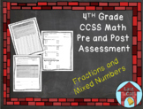 Fractions and Mixed Numbers Assessment CCSS Aligned
