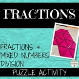 Fractions and Mixed Numbers Division Puzzle Activity