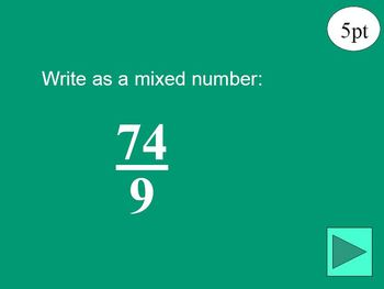 Fractions and Mixed Numbers Jeopardy PowerPoint Game