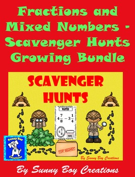 Fractions and Mixed Numbers - Scavenger Hunts Growing Bundle