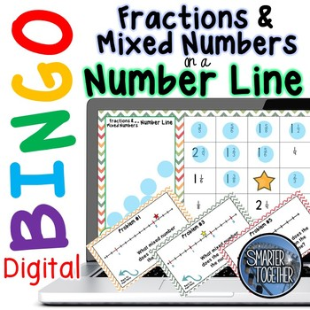 Fractions and Mixed Numbers on a Number Line Digital Bingo