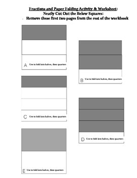Fractions and Paper Folding Activities and Worksheets