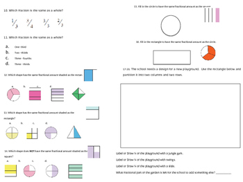 Fractions and Partitions Practice/Assessment GA.3