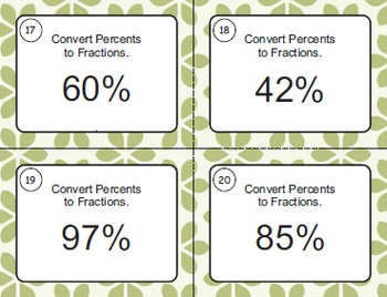 Fractions and Percents Task Cards