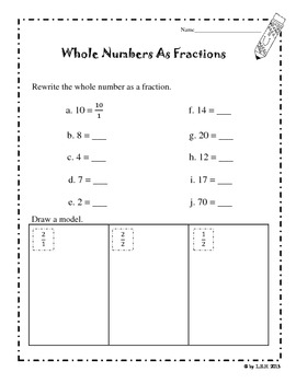 Fractions And Whole Numbers Worksheets By Loida Tpt