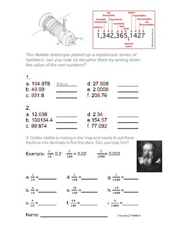 Fractions and decimals with a space theme