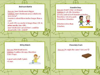 FRACTIONS and MEASUREMENT brain teasers~ 24 task cards!