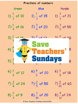 Fractions (and percentages) of amounts lesson plans, worksheets and more.