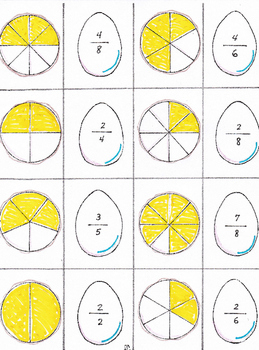 Fractions for Spring with Sue and Sam Duckling for First and Second grades