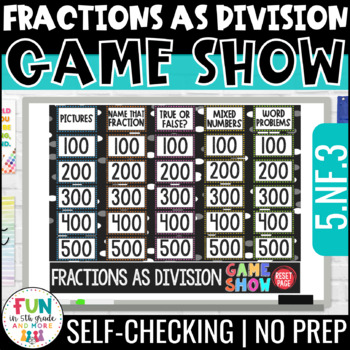 Fractions as Division Game Show 5th Grade | PowerPoint Review Game | Test Prep