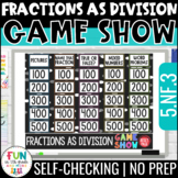 Fractions as Division Game Show PowerPoint Review Game | T