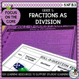 Fractions as Division- Math Center Activity and Printables Pack