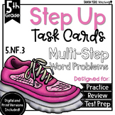 Fractions as Division Math Multi-Step Word Problems Task Cards 5th Grade 5.NF.3