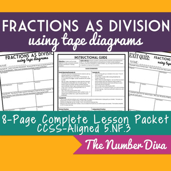 Fraction tape diagram teaching resources teachers pay teachers 5 fractions as division tape diagrams 8 page practice packet quiz 5 ccuart Gallery