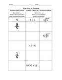 Fractions as Division Worksheet