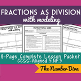 Fractions as Division with Modeling, 8-Page Practice Packet & Quiz, 5.NF.B.3