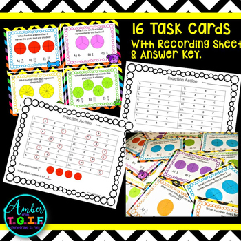 Fractions as Whole Numbers Task Cards, Matching Cards, Game & Puzzle