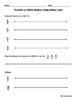 Fractions as Whole Numbers Using Number Lines