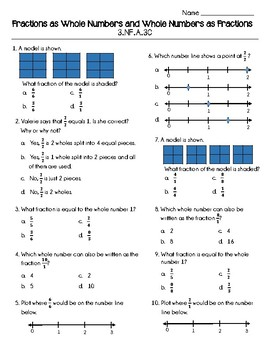 Fractions as Whole Numbers and Whole Numbers as Fractions