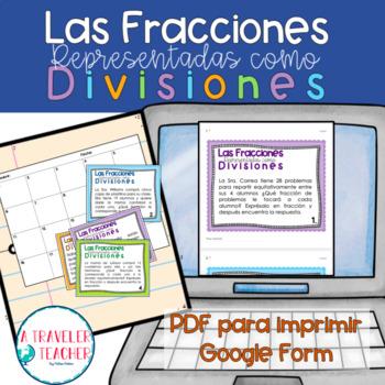Fractions as division problems Spanish CCSS 5.nf.3 (fracciones como división)