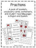 Fractions booklet and vocabulary (Librito y vocabulario de las fracciones)