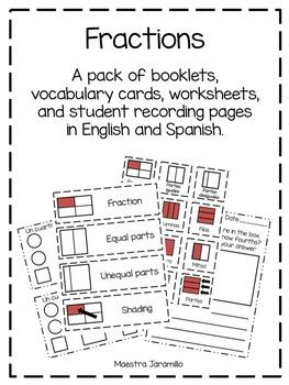 Fractions booklet and vocabulary (Librito y vocabulario de las fracciones)
