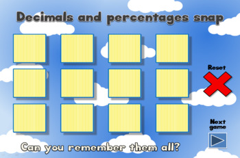 Fractions, decimals and percentages - fun interactive white board games