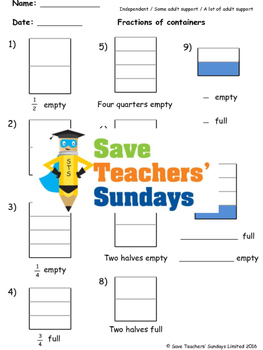 Fractions (empty or full) worksheets (3 levels of difficulty)