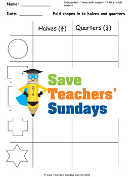 Fractions Equal Parts Worksheets (3 levels of difficulty)