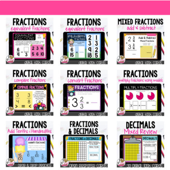 Boom Card Bundle Fractions for 4th Grade