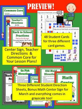 Back to School Parts of a Group Fractions Math Center Game