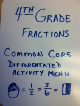 4th grade Fraction Differentiated Activity Menu