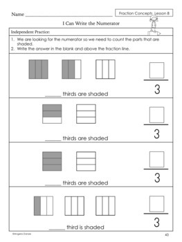 Fractions, Basic Concepts Workbook   Special Education Math   Intervention