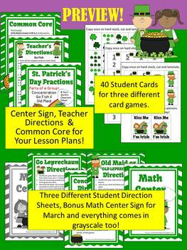 St. Patrick's Day Parts of a Group Fractions Math Center Games