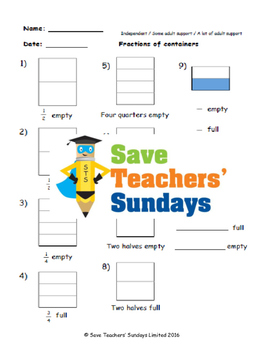Fractions (empty or full) lesson plans, worksheets and more
