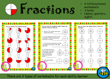 Half And Quarter Fractions Worksheets & Teaching Resources | TpT