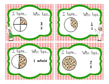 Fractions halves, fourths, and eighths I have...Who Has? Game
