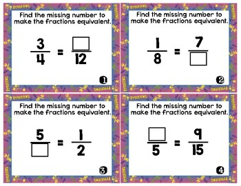 Fractions: identify/equivalent/whole/mixed/compare/word Task Cards/Scoot