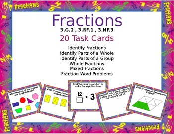 Fractions: identify, whole, mixed, word, group/whole Task Cards *EDITABLE*