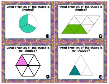 Fractions: identify, whole, mixed, word, group/whole Task Cards/Scoot