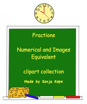 Fractions - images and numerical equivalent - clipart coll