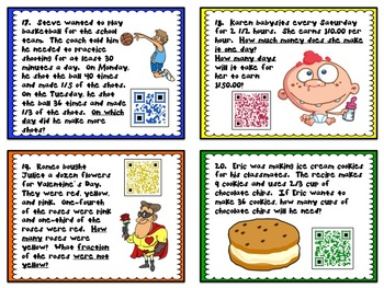 QR - Fractions in Action - Common Core Fractions Problem-Solving Task Cards