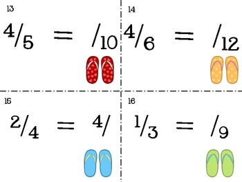 Fractions in Flip Flops: Equivalent Fractions TASK CARDS - Common Core