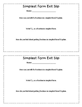 {FREE} Fractions in Simplest Form Exit Slip