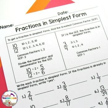 Fractions in Simplest Form (GCF) Worksheet