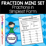 Fractions in Simplest Form (GCF) Worksheet