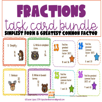 Fractions in Simplest Form & Greatest Common Factor Task Cards