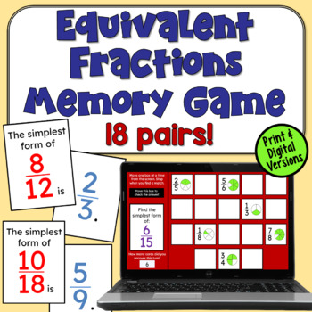 Fractions in Simplest Form Memory Game
