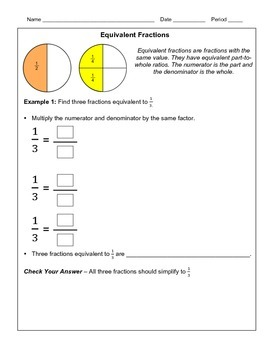 Fractions in Simplest Form and Equivalent Fractions