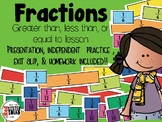 Fractions  lesson (greater than, less than, or equal to) Presentation